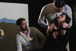 Alexander Hulme as Claudius, David Zachary as Albert & Izabella Urbanowicz as Gertrude in Gertrude at Theatre N16 (c) Roy Tan